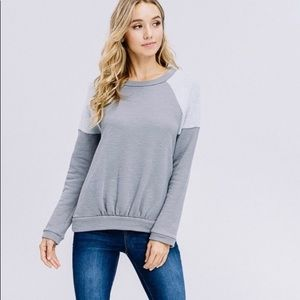 Crescent Gray Pullover Ruched Sweatshirt